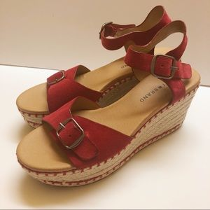 Lucky Brand Naveah Red Suede Espadrille Wedge